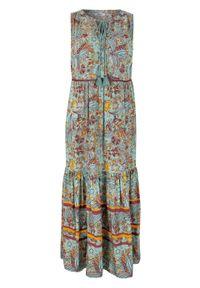 Długa sukienka z nadrukiem, z przyjaznej dla środowiska wiskozy bonprix zielony morski w kwiaty. Kolor: zielony. Materiał: wiskoza. Wzór: nadruk, kwiaty. Długość: maxi