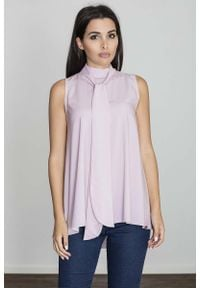 Figl - Różowa Rozkloszowana Bluzka z Wiązanym Krawatem bez Rękawów. Kolor: różowy. Długość rękawa: bez rękawów