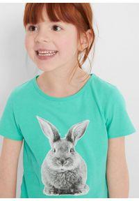 T-shirt dziewczęcy z fotodrukiem bonprix mentolowy niebieski. Kolor: zielony