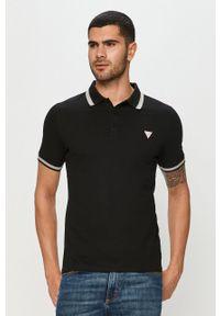 Czarna koszulka polo Guess Jeans casualowa, krótka, na co dzień, polo