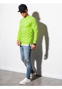 Ombre Clothing - Bluza męska bez kaptura B1217 - zielona - XXL. Typ kołnierza: bez kaptura. Kolor: zielony. Materiał: bawełna, poliester