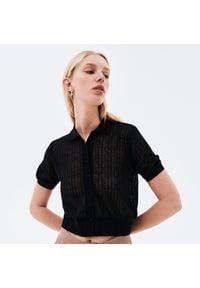 Reserved - Bluzka z ażurowym splotem - Czarny. Kolor: czarny. Wzór: ażurowy, ze splotem