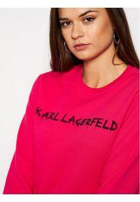 Różowa bluza Karl Lagerfeld z dekoltem karo