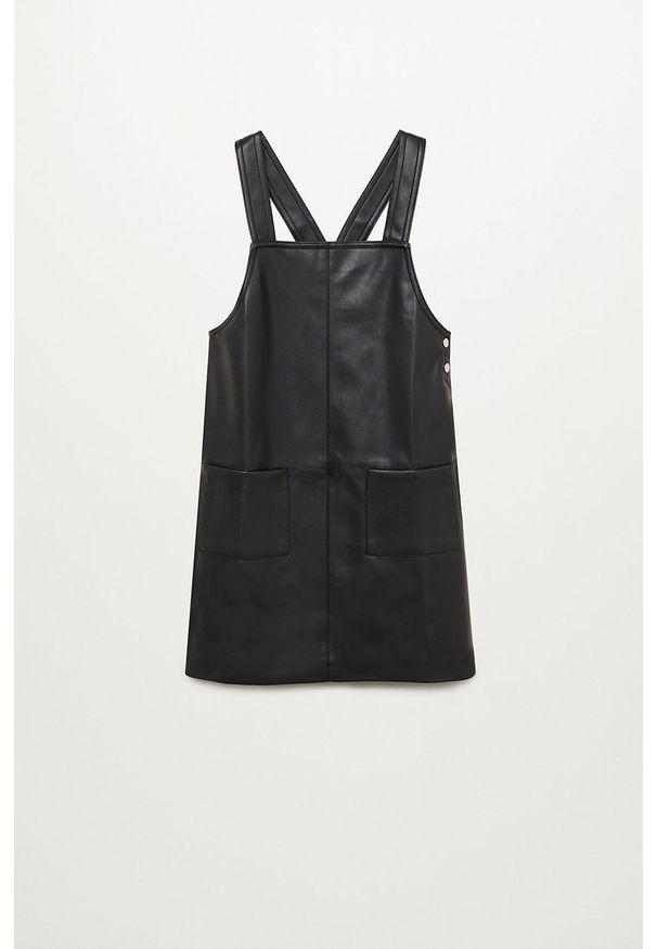 Czarna sukienka Mango Kids mini, na ramiączkach, z okrągłym kołnierzem, prosta