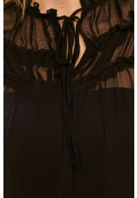 Czarna bluzka Jacqueline de Yong ze stójką, długa, casualowa