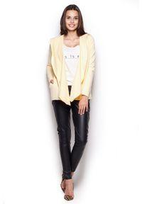 Figl - Bluza z Wolnymi Połami - Żółta. Kolor: żółty. Materiał: elastan, bawełna