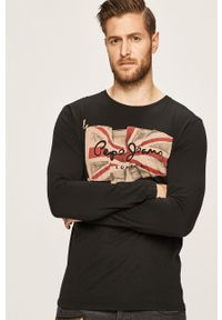 Czarna koszulka z długim rękawem Pepe Jeans z nadrukiem, na co dzień, z okrągłym kołnierzem