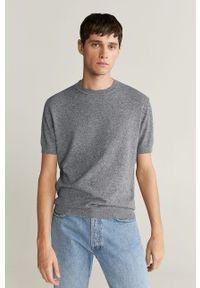 Szary t-shirt Mango Man na co dzień, casualowy, z okrągłym kołnierzem