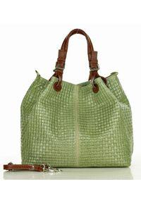 GENUINE LEATHER - Skórzana Torebka Shopper MAZZINI - Carina Treccia-Zielona. Kolor: zielony. Materiał: skórzane