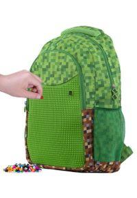 Pixie Crew plecak kreatywny Minecraft zielono-brązowy. Kolor: zielony, brązowy, wielokolorowy. Wzór: paski