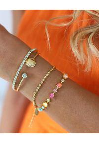 CAROLINE SVEDBOM - Złota bransoletka Calanthe. Materiał: złote. Kolor: złoty. Wzór: aplikacja, kolorowy. Kamień szlachetny: kryształ