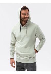 Ombre Clothing - Bluza męska z kapturem B1147 - jasnomiętowa - XXL. Typ kołnierza: kaptur. Kolor: miętowy. Materiał: bawełna. Styl: klasyczny