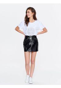 Czarna spódnica TROLL na zimę, w kolorowe wzory, elegancka