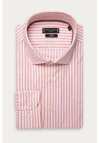 Różowa koszula Tommy Hilfiger Tailored z włoskim kołnierzykiem, na co dzień, długa
