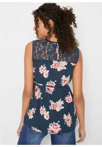 Bluzka ciążowa z koronką bonprix ciemnoniebieski w kwiaty. Kolekcja: moda ciążowa. Kolor: niebieski. Materiał: koronka. Wzór: kwiaty, koronka