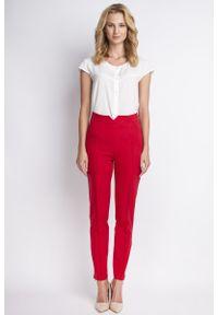 Czerwone spodnie z wysokim stanem Lanti klasyczne, z podwyższonym stanem