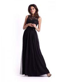 Czarna sukienka wieczorowa IVON maxi, w koronkowe wzory