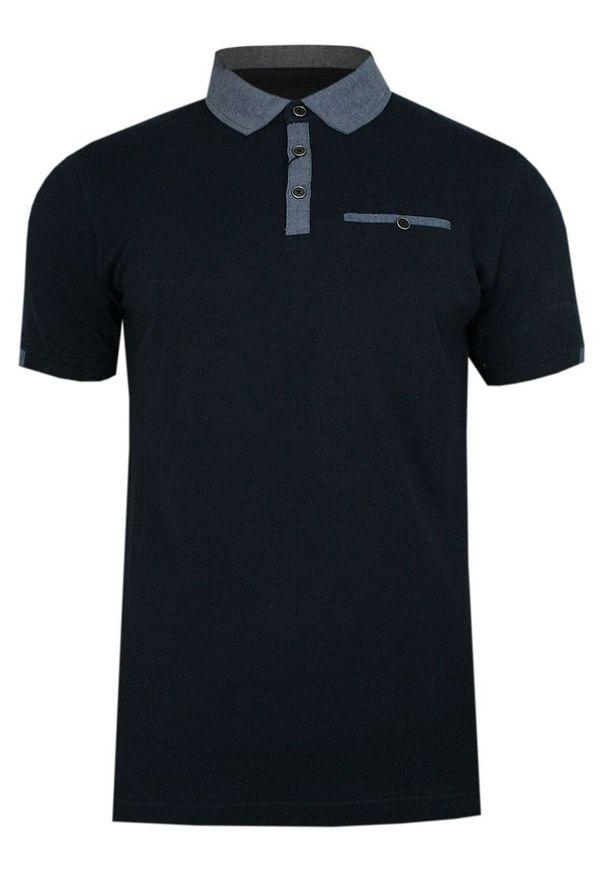 Niebieski t-shirt Ranir krótki, z krótkim rękawem, polo