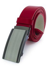 Czerwony męski pasek z automatyczną klamrą KMG20C. Kolor: czerwony. Materiał: jeans, skóra. Styl: klasyczny, elegancki