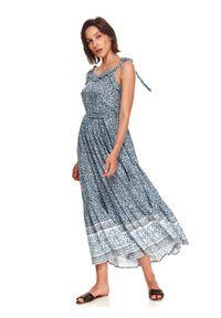 TOP SECRET - Sukienka maxi we wzory. Kolor: turkusowy. Materiał: tkanina. Długość rękawa: na ramiączkach. Sezon: lato. Styl: wakacyjny, elegancki. Długość: maxi