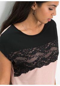 Shirt z koronką bonprix czarno-jasnoróżowy vintage. Kolor: czarny. Materiał: koronka. Długość rękawa: krótki rękaw. Długość: krótkie. Wzór: koronka. Styl: vintage