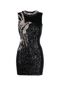 Balmain - BALMAIN - Sukienka z kryształami i cekinami. Kolor: czarny. Materiał: materiał. Wzór: aplikacja. Styl: wizytowy