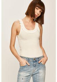 Biały top Pepe Jeans na co dzień, gładki, casualowy