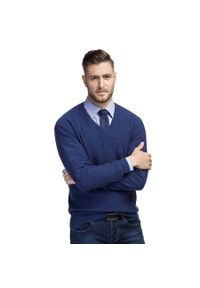 Niebieski sweter Giacomo Conti z dekoltem w kształcie v, w kolorowe wzory, klasyczny