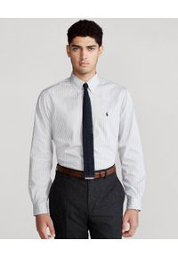 Ralph Lauren - RALPH LAUREN - Szara koszula w prążki Custom Fit. Okazja: na co dzień. Typ kołnierza: polo. Kolor: szary. Materiał: bawełna. Wzór: prążki. Styl: casual