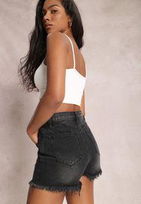 Renee - Czarne Szorty Ethemiphe. Stan: podwyższony. Kolor: czarny. Materiał: bawełna, materiał, jeans
