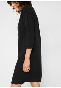 Sukienka dresowa z dekoltem w łódkę bonprix czarny. Kolor: czarny. Materiał: dresówka