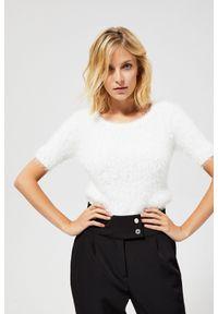 Biały sweter MOODO z krótkim rękawem, z okrągłym kołnierzem, krótki