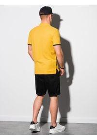 Ombre Clothing - Koszulka męska polo bawełniana S1381 - żółta - XXL. Typ kołnierza: polo. Kolor: żółty. Materiał: bawełna