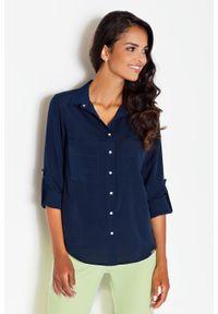 Figl - Niebieska Klasyczna Koszula z Podpinanym Rękawem z Kieszeniami. Kolor: niebieski. Materiał: elastan, wiskoza, poliester. Styl: klasyczny
