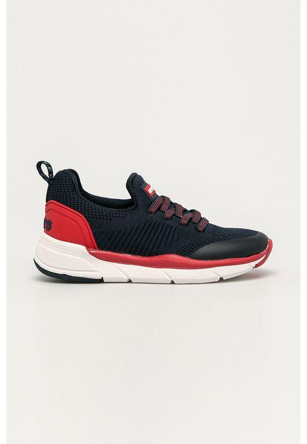 Czerwone buty sportowe Levi's® z okrągłym noskiem, w kolorowe wzory, na spotkanie biznesowe