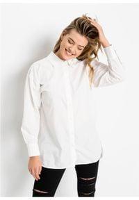 Długa bluzka z ozdobnym sznurowaniem z tyłu bonprix biały. Typ kołnierza: kołnierzyk koszulowy. Kolor: biały. Długość: długie #4
