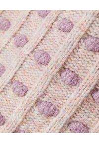 LOVE SHACK FANCY - Beżowy sweter Ellyn. Okazja: na co dzień. Kolor: beżowy. Materiał: dzianina, wełna, koronka. Wzór: kropki, koronka, napisy. Sezon: wiosna. Styl: casual