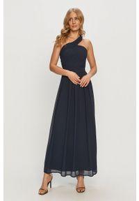Niebieska sukienka Vila gładkie, z dekoltem halter, na co dzień, casualowa