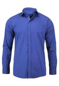 Niebieska elegancka koszula Rigon z długim rękawem, na spotkanie biznesowe