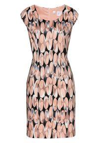 Sukienka ołówkowa z nadrukiem bonprix stary jasnoróżowy z nadrukiem. Kolor: biały. Wzór: nadruk. Typ sukienki: ołówkowe. Styl: retro