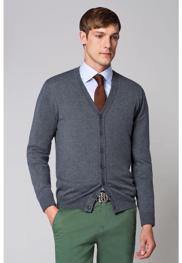 Szary sweter Lancerto na wiosnę, w kolorowe wzory, z klasycznym kołnierzykiem, casualowy