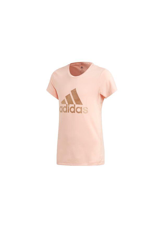 Różowy t-shirt Adidas w kolorowe wzory