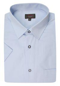 Niebieska elegancka koszula Jurel gładkie, na spotkanie biznesowe, z krótkim rękawem, krótka