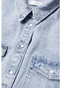 Niebieska koszula mango casualowa, na co dzień, długa
