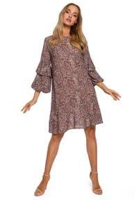 MOE - Luźna Sukienka w Tureckie Wzory - Model 1. Materiał: poliester. Wzór: kwiaty