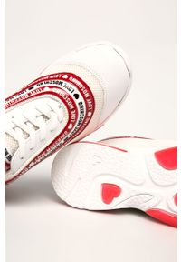 Białe buty sportowe Love Moschino na średnim obcasie, na sznurówki, na obcasie, z cholewką