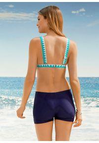 Biustonosz bikini z trójkątnymi miseczkami bonprix ciemnoniebiesko-zielono-biały. Kolor: niebieski