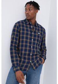 Wrangler - Koszula bawełniana. Typ kołnierza: kołnierzyk klasyczny. Kolor: niebieski. Materiał: bawełna. Długość rękawa: długi rękaw. Długość: długie. Styl: klasyczny