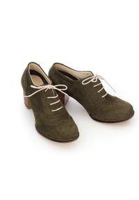 Zapato - sznurowane półbuty na 6 cm słupku - skóra naturalna - model 251 - kolor oliwka. Materiał: skóra. Obcas: na słupku