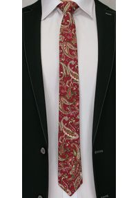 Oryginalny Krawat Męski- 6 cm - Alties, Wzór Paisley. Kolor: czerwony, wielokolorowy. Materiał: tkanina. Wzór: paisley. Styl: wizytowy, klasyczny, elegancki